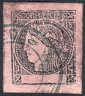 ARGENTINA: GJ.9, Dark Rose-lilac, Type 4, Very Wide Margins, With The Rare Double Circle Cancel Of MERCEDES, Excellent Q - Corrientes (1856-1880)