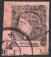 ARGENTINA: GJ.12, Brick-rose, With Double Circle Datestamp Of Corrientes Of AP/1877, Wide Margins, Superb! - Corrientes (1856-1880)