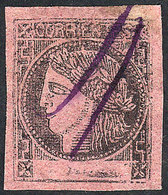 ARGENTINA: GJ.12, Brick-rose, With Variety: Light PARTIAL DOUBLE IMPRESSION (left Border), With Violet Pen Cancel Of Mer - Corrientes (1856-1880)