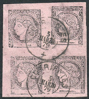 ARGENTINA: GJ.15, Lilac, Block Of 4 Consisting Of Types 1-2-6-5 (composition 2), Featuring Type 2 (top Right Stamp) In A - Corrientes (1856-1880)