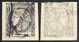 """ARGENTINA: GJ.18, Revenue Stamp Printed In Black On White Paper, With Signature Of MIRANDA, And """"offset Impression On Ba - Corrientes (1856-1880)"""