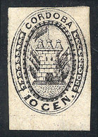 ARGENTINA: GJ.2, 10c. Black-gray, Vertically Laid Paper (much Rarer Than Horizontally Laid Paper), Mint With Original Gu - Cordoba (1858-1860)