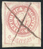 ARGENTINA: GJ.7b, 5c. WITH Accent Over The U, With Notable Wear (last Stage Of The Plate, Similar To GJ.14), With The 8  - Argentine