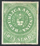 ARGENTINA: GJ.8A, 10c. APPLE GREEN, Beautiful Example Mint With Original Gum (+50%), With Variety: Plate Wear Below The  - Oblitérés