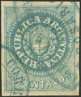 ARGENTINA: GJ.9, 15c. Green-blue, Wide Margins, With 2 Cancels Of Rosario: Datestamp + Ellipse, Excellent! - Argentina