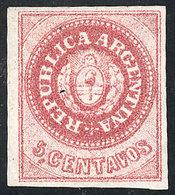 ARGENTINA: GJ.10B, 5c. Without Accent, CARMINISH ROSE Color, Mint, Excellent Quality! - Oblitérés