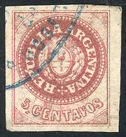 """ARGENTINA: GJ.12A, 5c. Semi-worn Plate, PURPLE-ROSE Color, With Variety """"Accent Between The P And U Of REPUBLICA"""", Excel - Argentine"""