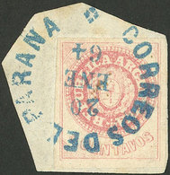ARGENTINA: GJ.14, Worn Plate, On Fragment With Rimless Datestamp Of Paraná, Superb! - Oblitérés