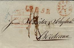 1838- Lettre D'AMSTERDAM Pour Bordeaux - L.P.B. 5.R Rouge + HOLLANDE  / PAR / VALENCIENNES Encadré Noël 140 - Storia Postale