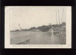 Nanticoke River  Between Market Street Bridge And Railroad Bridge Seaford Del. Stamp Timbre - Autres