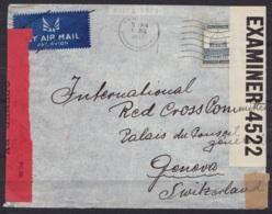 Palestine - L. Avion Affr. 15p Flam. TEL AVIV /1 JLY 1940 Pour Comité Croix-Rouge à GENEVE - Bandes Et Cachet Censure Pa - Palestine