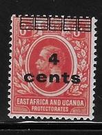East Africa And Uganda Protectorates 1919 Surcharged 4c On 6c Mint Hinged - Kenya, Uganda & Tanganyika