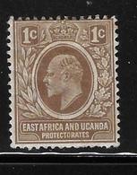 East Africa And Uganda Protectorates 1907-08 King Edward VII 1c Mint Hinged - Kenya, Uganda & Tanganyika