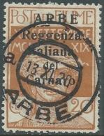 1920 ARBE USATO 20 CENT CARATTERI PICCOLI - RA12 - 8. WW I Occupation