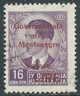 1942 MONTENEGRO USATO SOPRASTAMPATA CARMINIO VALORE LIRE 16 D - RA18-6 - 9. Besetzung 2. WK (Italien)