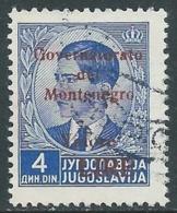 1942 MONTENEGRO USATO SOPRASTAMPATA CARMINIO VALORE LIRE 4 D - RA18-6 - 9. Besetzung 2. WK (Italien)