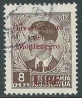 1942 MONTENEGRO USATO SOPRASTAMPATA CARMINIO VALORE LIRE 8 D - RA18-6 - 9. Besetzung 2. WK (Italien)