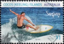 2019 COCOS KEELING ISLANDS $1 SURFING Very Fine POSTALLY USED Stamp - Cocos (Keeling) Islands