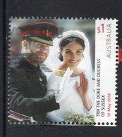 2018 AUSTRALIA HRH DUKE AND DUCHESS OF SUSSEX ROYAL WEDDING VERY FINE POSTALLY USED $1 SHEET STAMP - Oblitérés
