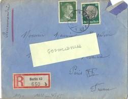 GUERRE 39-45 Recommndé Du 2-3-42 De  Xx Filter E Mann BERLIN SW.68 Wassetorstrass 9 – Ouvert Par La CENSURE - WW II