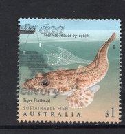2019 AUSTRALIA TIGER FLATHEAD FISH VERY FINE POSTALLY USED $1 Sheet Stamp - 2010-... Elizabeth II