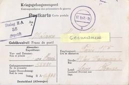 GUERRE 39-45 POSTKARTE PRISONNIER Au STALAG II A /35 NEUBRANDENBOURG – Rédigé Le 7-9-41 - Marcophilie (Lettres)