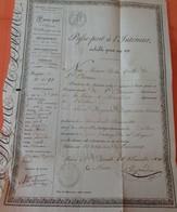 1831 - PASSEPORT DE L'INTÉRIEUR - SAINT-ETIENNE à MOULINS - Antoine DRIGEARD DESGARNIERS Quincailler - Documents Historiques