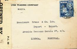 MALTE CENSORED COVER 1945 TO LISBOA - Malte