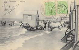 Oostende (Ostende) Het Bad - Le Bain Avec Cabine Hippomobile 1919 - Carte Nels - Oostende