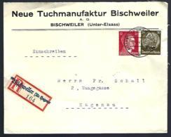 RECOMMANDÉ EN PROVENANCE DE BISCHWEILER - BISCHWILLER - 1941 - - Alsazia-Lorena