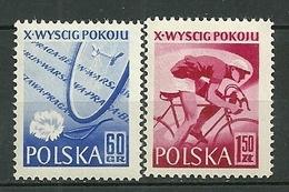 POLAND MNH ** 900-901 Tour Cycliste De La Paix Coureur Bicyclette - Neufs