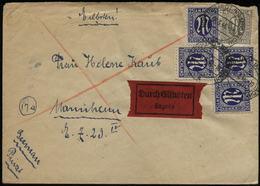 S5519 4 X 25 Pfg AM Post Nr. 9z MiF Auf Express Briefumschlag: Gebraucht Hüffenhardt - Mannheim  8.3.1946, Bedarfserha - Bizone