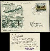S7054 - BRD 10 Pfg Postillion Auf Zeppelin Sonderpostkarte ,40 Jahre Luftpost : Gebraucht Frankfurt Flughafen - Lage L - BRD