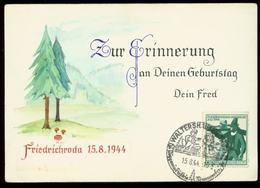 S7332 - DR Geburtstag Postkarte Friedrichroda ,Selbstgestaltet: Gebraucht Mit Sonderstempel Waltershausen - 1944, Beda - Briefe U. Dokumente