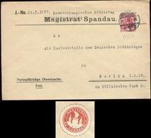 S7484 - DR Germania Magristrat Spandau Briefumschlag Mit Perfin MSP Und Siegelmarke: Gebraucht Berlin Spandau 1913, Be - Deutschland
