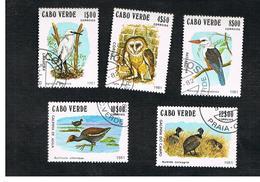 CAPO VERDE (CAPE VERDE)    -  SG 512.516  -  1981 BIRDS (COMPLET SET OF 5)    - USED ° - Isola Di Capo Verde