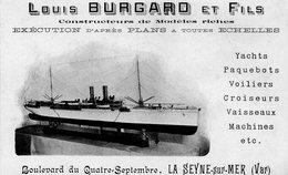 83 LA SEYNE SUR MER CARTE PUBLICITE LOUIS BURGARD ET FILS CONSTRUCTEURS DE MODELES REDUITS DE BATEAUX - La Seyne-sur-Mer