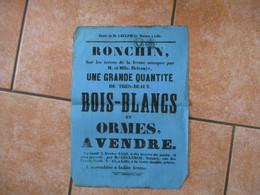 4 FEVRIER 1850 RONCHIN SUR LES TERRES DE LA FERME OCCUPEE PAR M. ET Mlle DELEVAYE VENTE DE BOIS BLANCS ET ORMES 43cm/31c - Posters