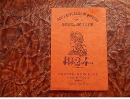 CARTE ADHERANT PARTI SOCIALISTE REPUBLICAIN Radical LAGNIEU 1924 MARIANNE DIFFERENTE Saint-Sorlin-en-Bugey - Documents Historiques