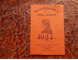 CARTE ADHERANT PARTI SOCIALISTE REPUBLICAIN Radical LAGNIEU 1924 MARIANNE DIFFERENTE Saint-Sorlin-en-Bugey - Historical Documents