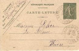 Carte-lettre Envoyée De Brigueil-Le-Chantre (Vienne) Au Blanc (Indre), 1919, Entier Postal, Bon état - Marcophilie (Lettres)