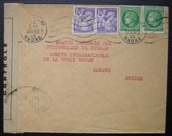 Lyon Gare 1945 Lettre Avec Censure Pour L'agence Des Prisonniers De Guerre De La Croix Rouge à Genève - Marcophilie (Lettres)