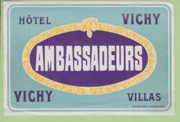 Etiquette Hôtel Ambassadeurs à Vichy. Villas. 2 Scans. - Etiquettes D'hotels
