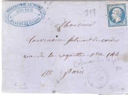 Basses Alpes :- COLMAR LES ALPES P.C.909 Dateur Type 15 - Marcofilia (sobres)