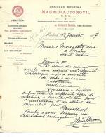 Facture Espagne MADRID 1907 / Automobiles RENAULT Paris-Billancourt / Fabrication Camions Ommibus - España