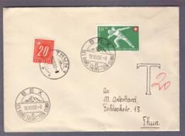 Lettre Obl Bex Ses Bains Salins - Son Climat 18.07.1950 Aff 10c Jet De Pierre + 20c Taxe Pour Thun - Suisse