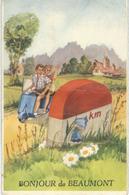 Bonjour De BEAUMONT : RARE CPA A SYSTEME - Cachet De La Poste 1957 - Beaumont