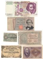 50000 Lire 1990 + 1000 1973 + 10 1915 + 5 1940 + 50 Cent 1870 X 2 Tipi Banca Toscana   LOTTO 2667 - Verzamelingen