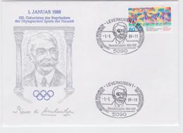 Germany Cover 1988 Leverkusen 125. Geburtstag Pierre De Coubertin (G101-20) - Otros