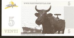 Latvia Ventspils - 5 VENTI Coupon -  Cow Parade Ship Cargo Vessel - Latvia